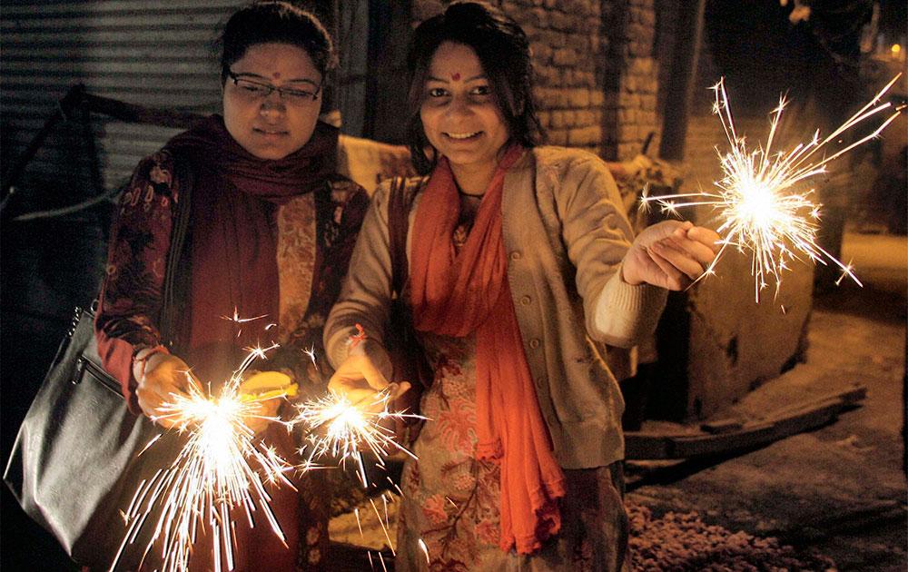 Young Girls celebrating Diwali,in Srinagar.
