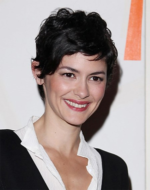 Audrey Tautou flashes nipples in sheer dress in NY